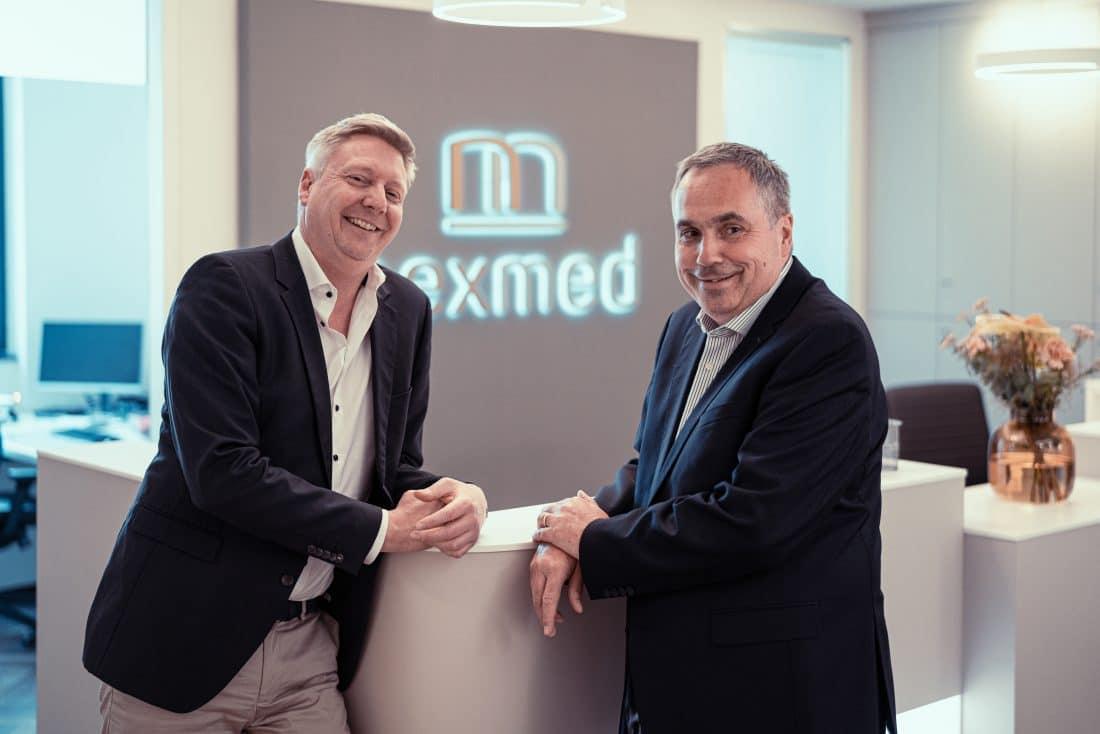 nexmed Gründer Stephan Essmeyer und Patrick Zinn am Empfang des MRT Zentrums in Dortmund